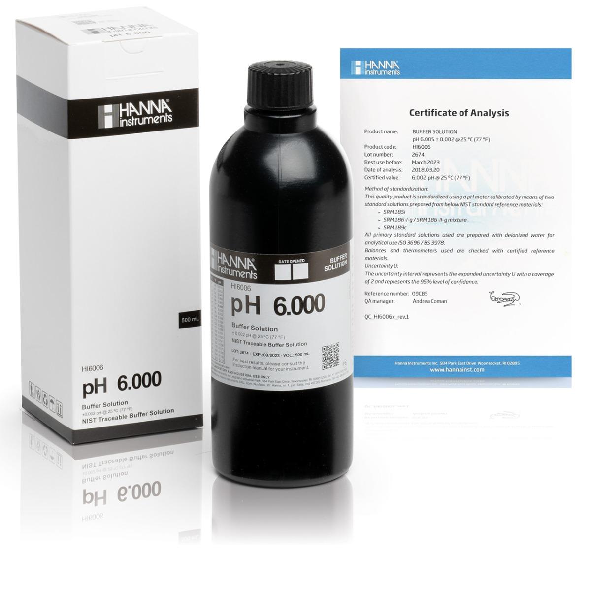 HI6006 pH 6.000 Millesimal Calibration Buffer (500 mL)