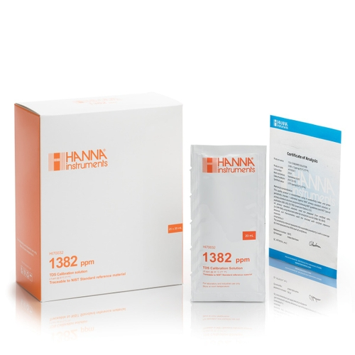 HI70032C 1382 mg/L (ppm) TDS (25 x 20 mL) sachets with certificate