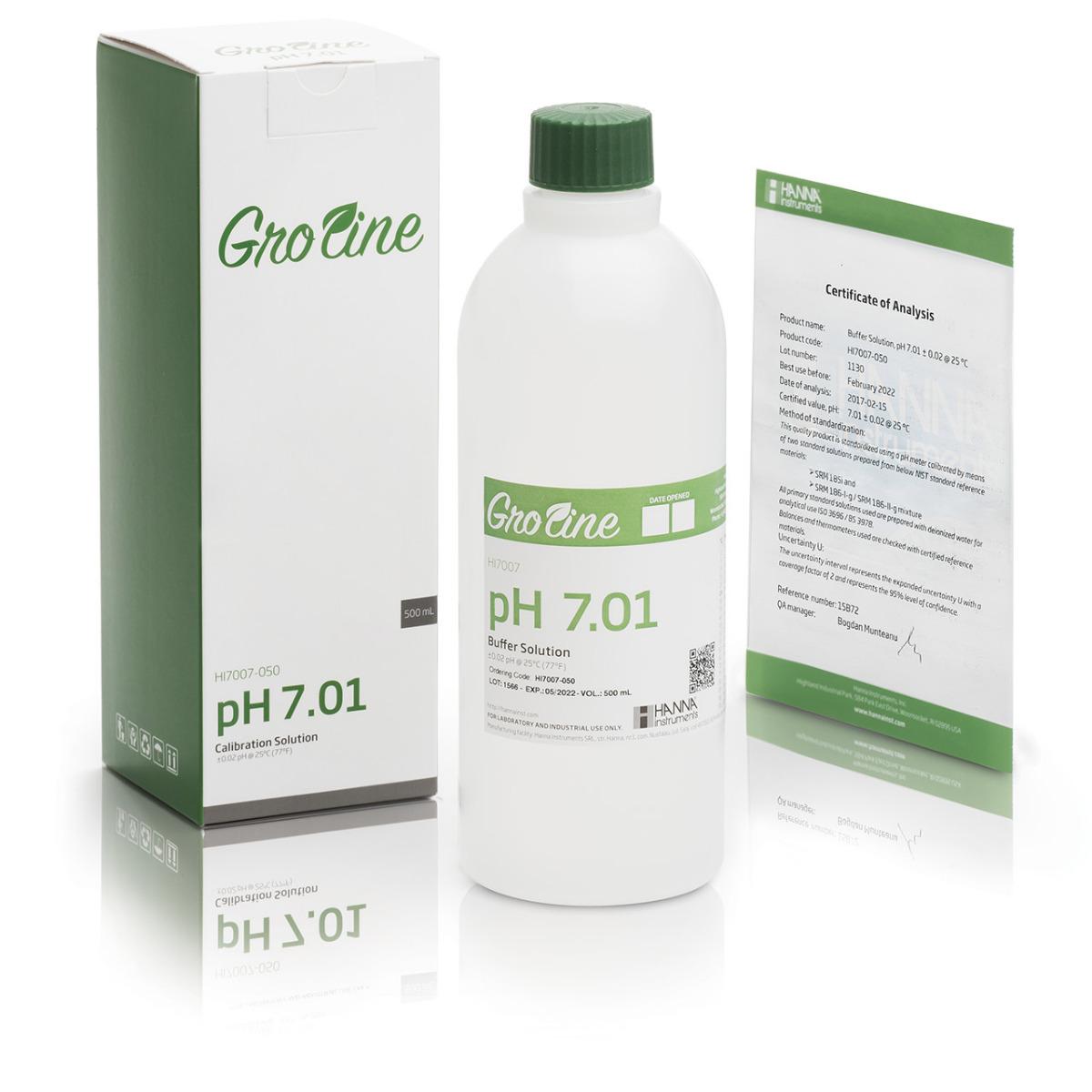 GroLine pH 7.01 Calibration Buffer (500 mL) - HI7007-050