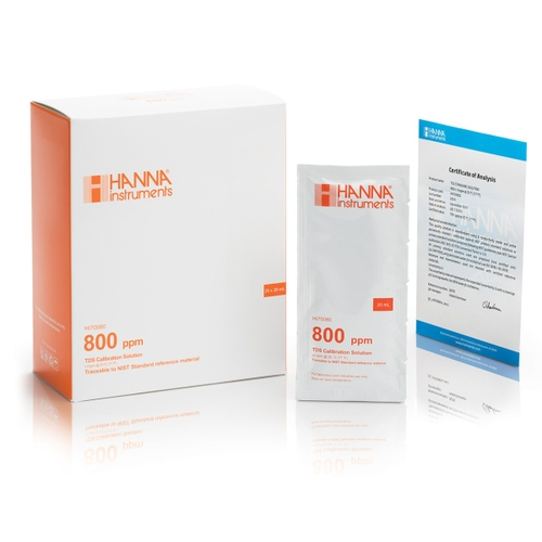 HI70080C 800 mg/L (ppm) TDS (25 x 20 mL) sachets with certificate