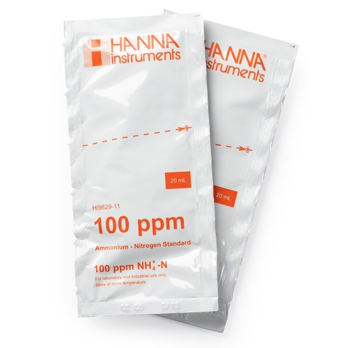 HI9829-11 100 ppm Ammonium Calibration Standard Sachets for HI9829 (25 x 20 mL)