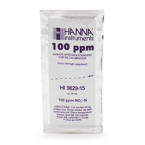 10 ppm and 100 ppm Nitrate (as N) Calibration Standard Sachets for HI9829 (10 x 25 mL each) - HI9829-14/15