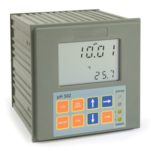 Panel-mounted pH Digital Controller with Matching Pin - pH500 series-pH 502421 dual setpoint with SSR relay, on/off and PID controls, analog output