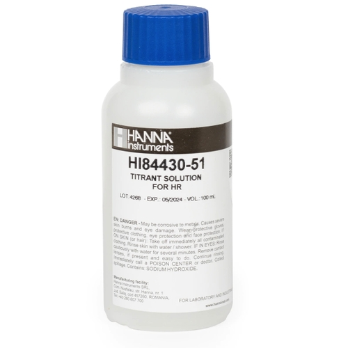 High Range Titrant for Titratable Acidity in Water Titrator - HI84430-51
