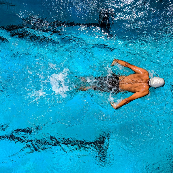 Birds eye view of a swimmer in a pool