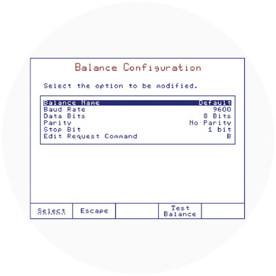 Configurable balance interface