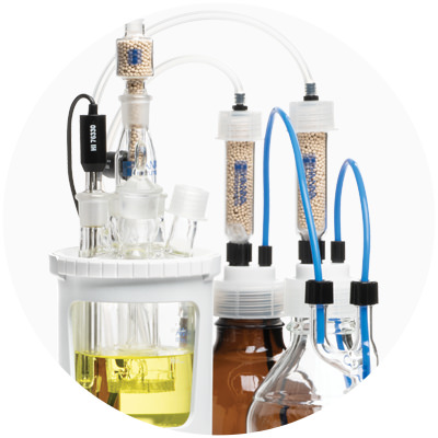 Chemically resistant titration vessel and tubing